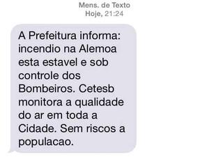 Moradores receberam mensagens da Prefeitura de Santos sobre incêndio (Foto: Reprodução)