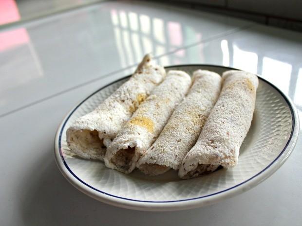 Tapioca de castanha poderá ser recheada com manteiga a gosto (Foto: Halex Frederic/G1)