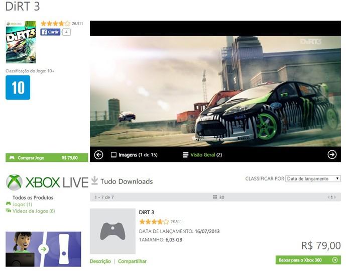Tela de DiRT 3 na Xbox LIVE Marketplace (Foto: Reprodução/André Mello)
