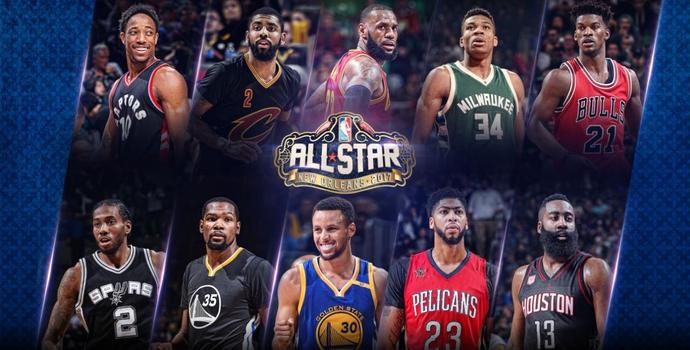 Lista dos 10 titulares selecionados para o All-Star Game 2017 (Foto: Divulgação / NBA)