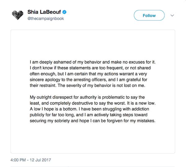 O pedido de desculpas de Shia LaBeouf (Foto: Twitter)