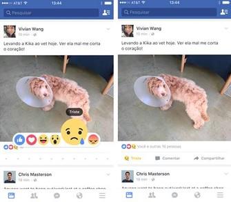 Reaction Buttons do Facebook no celular; veja como fica um post (Foto: Divulgação/Facebook)