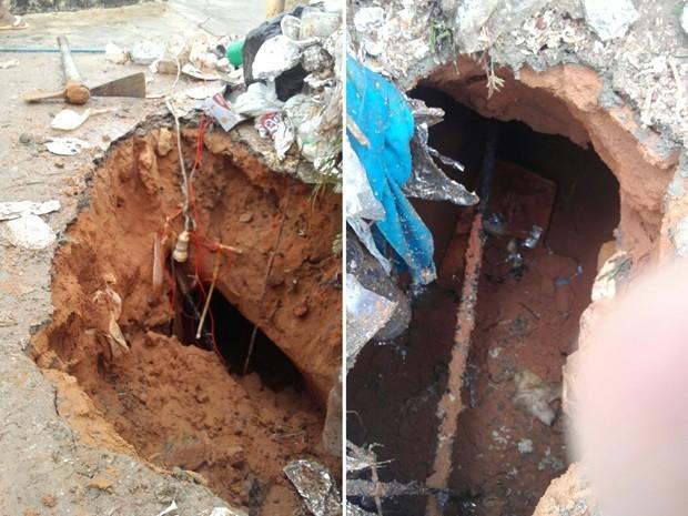 Com o solo encharcado, túnel aberto pelos detentos do pavilhão 4 cedeu e a escavação desmoronou (Foto: G1/RN)