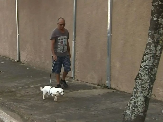 Cachorro se tornou companheiro das caminhadas de aposentado (Foto: Reprodução / TV TEM)