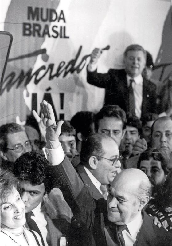 Tancredo ao ser presidente pelo Colégio Eleitoral,em 15 de janeiro de 1985 (Foto: Jorge Araújo/Folhapress)