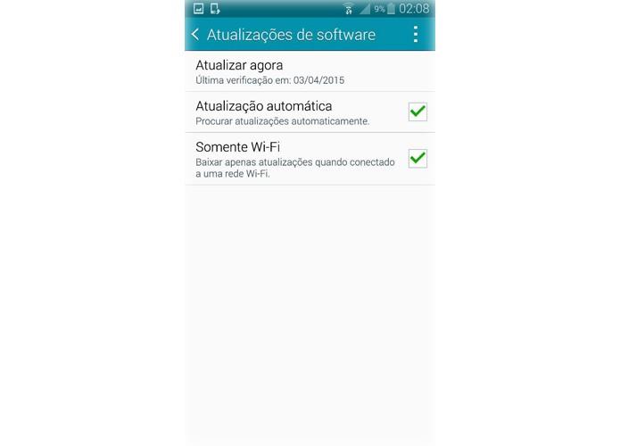 """Entre em """"Atualizações de Software"""" para atualizar o Note 4 para o Lollipop (Foto: Reprodução/Lucas Mendes)"""