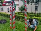 Praça da Matriz recebe decoração para Natal em Lagoa da Prata