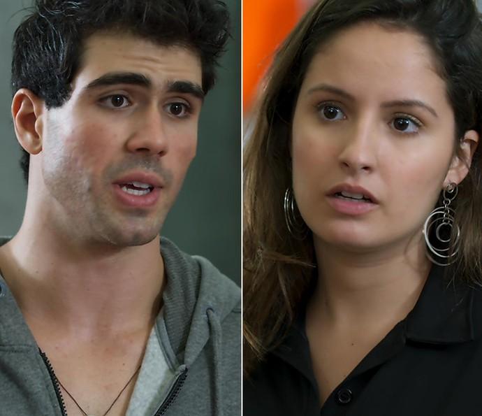 Rômulo surpreende Nanda e avisa que vai sair da academia (Foto: TV Globo)