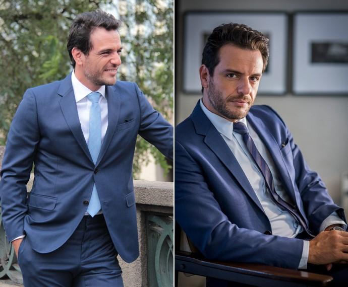 Alex possui dresscode formal, mas faz combinações criativas (Foto: TV Globo/João Miguel Júnior e Marcos Mazzini/Gshow)