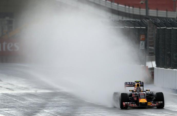 Daniil Kvyat, da RBR, encara pista muito molhada no 2º treino livre em Sochi (Foto: AFP)