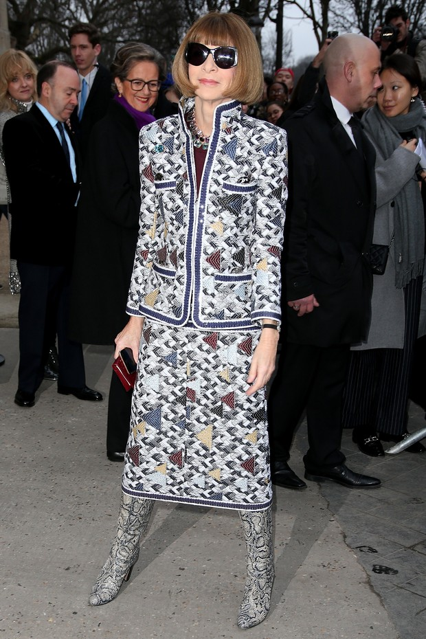 Anna Wintour no desfile da Chanel em Paris (Foto: Getty Images)