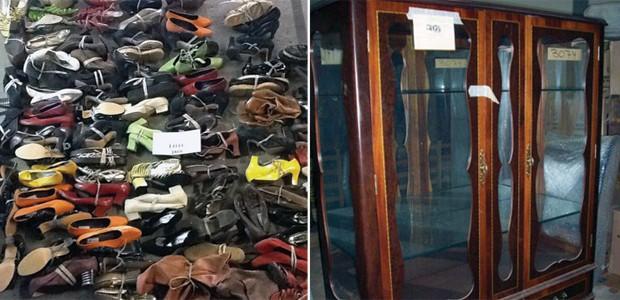 Sapatos e móveis estão entre os itens que serão leilodos pelo TJDF em novembro (Foto: TJDF / Divulgação)