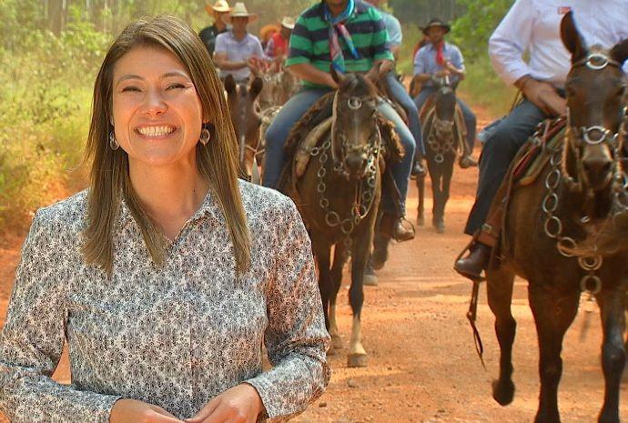 Tammy de Andrade falou sobre a tradição das famosas tropeadas na região (Foto: Reprodução/TV TEM)
