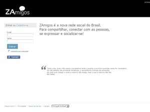 Página principal do Zamigos (Foto: Reprodução)