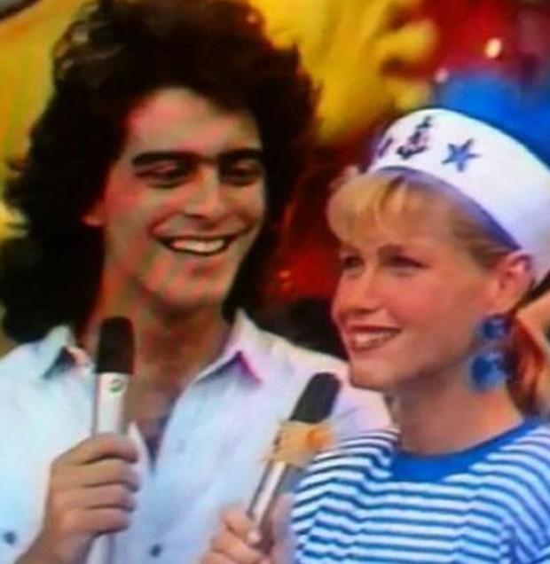 Junno e Xuxa no Xou da Xuxa, na década de 80 (Foto: Reprodução)