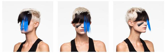 Truque com o cabelo pode ajudar a enganar o reconhecimento facial, além da maquiagem (Foto: Reprodução/CV Dazzle)