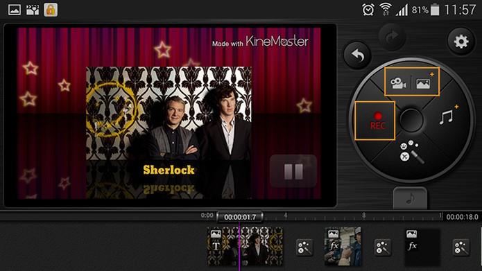 Menu com funções para gravar e adicionar novas imagens ou vídeos (Foto: Reprodução/Barbara Mannara)