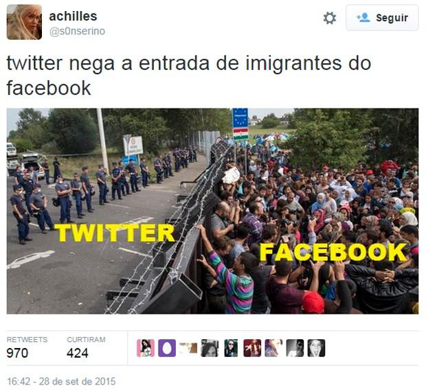 Usuários do Twitter tiram sarro do Facebook após rede social sair do ar (Foto: Reprodução/Twitter/s0nserino)