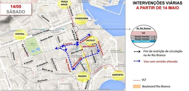 Mapa mostra alterações no trânsito com reabertura de trecho da Avenida Rio Branco, Rio (Foto: Secretaria Municipal de Transportes/Divulgação)