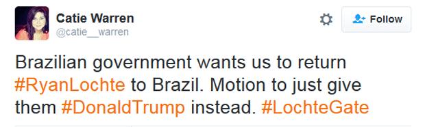 """""""Governo brasileiro querm que devolvamos Ryan Lochte. Em vez disso, vamos dar o Donald Trump"""" (Foto: Reprodução/Twitter)"""