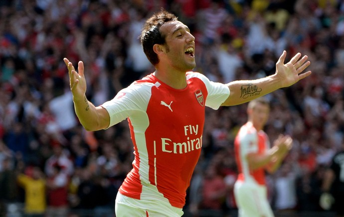 Santi Cazorla gol Arsenal x Manchester City (Foto: Getty Images)