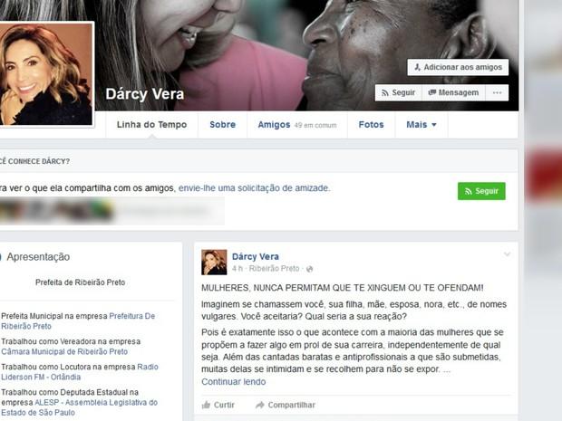 Prefeita Dárcy Vera (PSD) usou o Facebook para se pronunciar sobre a prisão de Fernando Chiarelli (PT do B) (Foto: Reprodução/Facebook)
