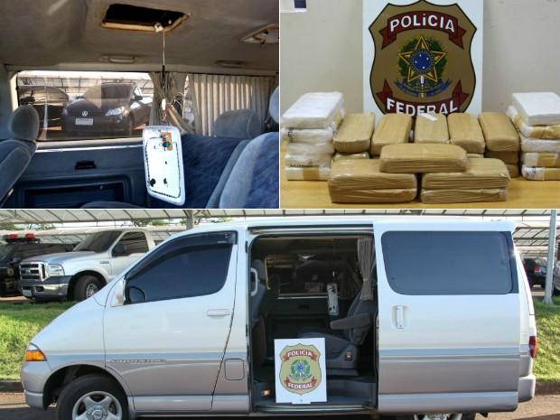 No total, 20 kg de crack e 10 kg de cocaína estavam escondidos no fundo falso no teto de uma van (Foto: Polícia Federal / Divulgação)