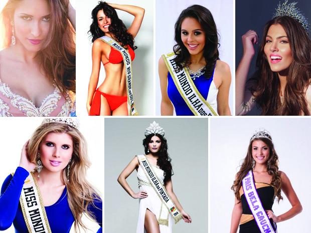 Montagem sobre fotos das mulheres candidatas gaúchas a Miss Mundo (Foto: Montagem sobre fotos)