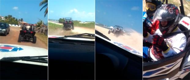 Quadriciclo foi perseguido pela polícia por 2 quilômetros de trechos de asfalto, terra e areias de praia no litoral Sul potiguar (Foto: Anderson Barbosa/G1)
