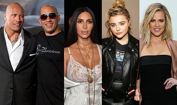 Dwayne Johnson X Vin Diesel, Kim Kardashian X Chloe Moretz X Khloe Kardashian (Foto: Getty Images)