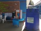 Ponto de coleta de reciclável é instalado (Pâmela Fernandes/G1)