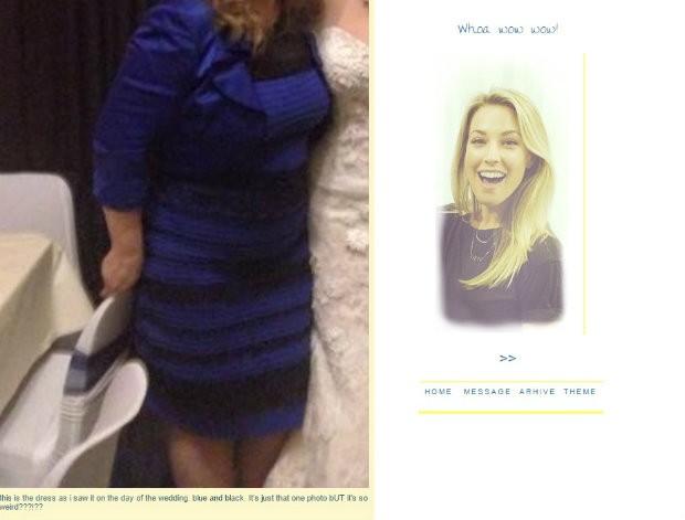 """""""Este é o vestido que eu vi no dia do casamento. Azul e preto. É apenas uma foto, mas é tão estranho!"""", escreveu a internauta (Foto: Reprodução/Tumblr)"""