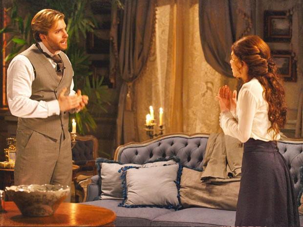 Edgar quer se entender com a mulher (Foto: Lado a Lado / TV Globo)