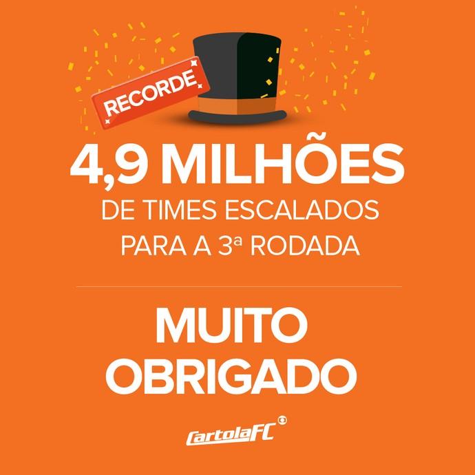 card recorde rodada 3 5 milhões escalados (Foto: Infografia GloboEsporte.com)