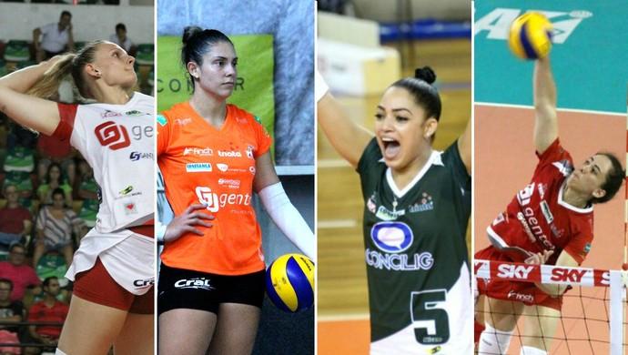 Vôlei Bauru, Valquíria, Bruna Honório, Brenda e Thaisinha, top 10, Superliga feminina (Foto: Arte / GloboEsporte.com)
