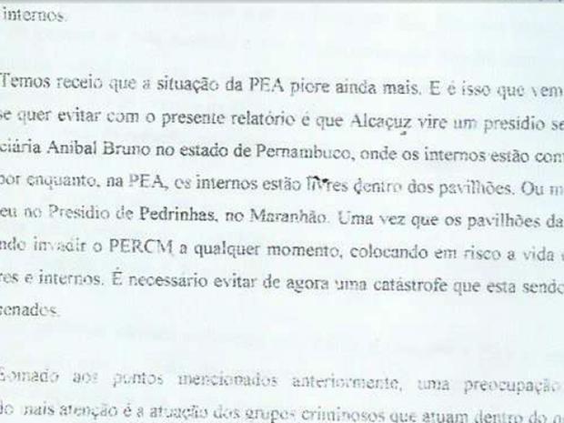 ''Temos receio que a situação do PEA piore ainda mais'', diz memorando enviado pela Penitenciária Estadual de Alcaçuz. (Foto: Divulgação)