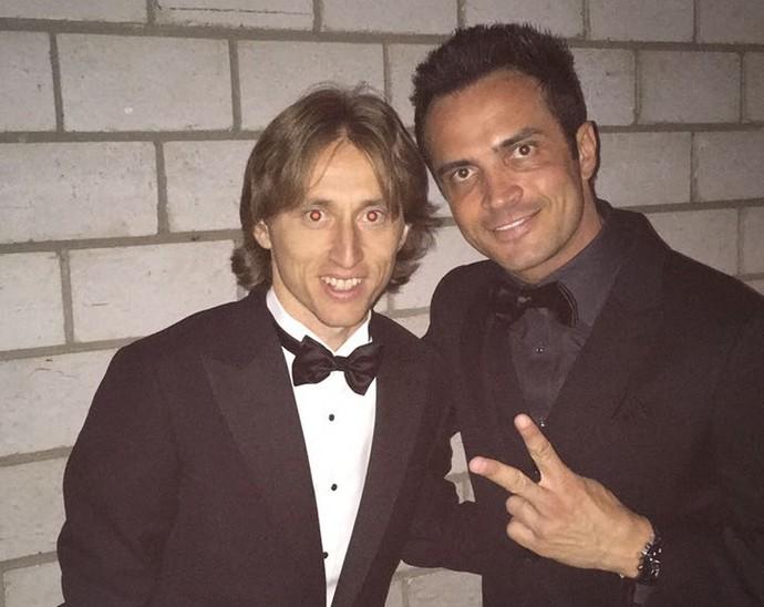Falcão e o meia Luka Modrić (Foto: Arquivo Pessoal/ Falcão)