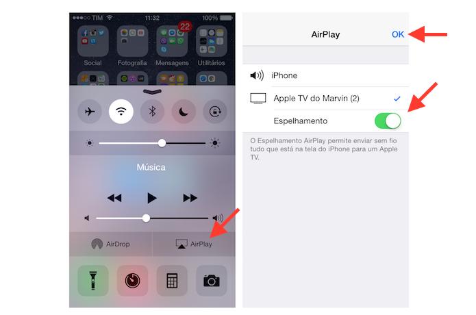 Espelhando a tela de um iPhone com a Apple para jogar games na TV (Foto: Reprodução/Marvin Costa)