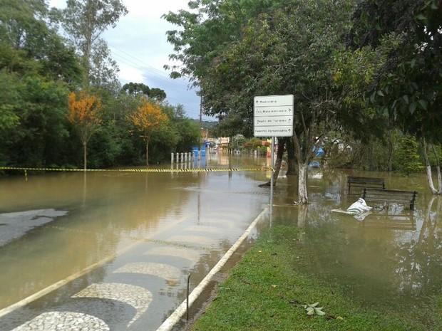 Parte de Porto Amazonas está embaixo d'água, inclusive a rua em que fica a maioria das lojas do município.  (Foto: Adriano Ramos/RPC TV)