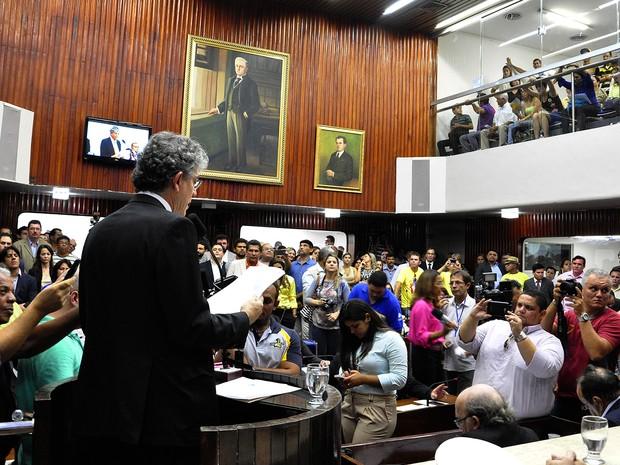 Governador Ricardo Coutinho discursa na abertura dos trabalhos na ALPB (Foto: Nyll Pereira/ALPB)