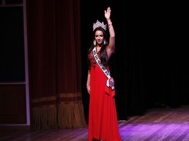 Valentina Isler, a Miss São Paulo Gay 2015, na edição de 2016 do concurso (Foto: Celso Tavares/ EGO)