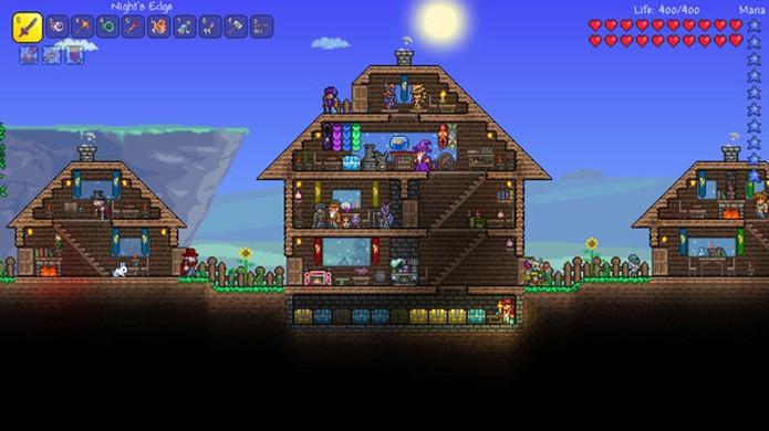 Aparentemente um Minecraft em 2D, a aventura em Terraria fica bastante complexa com o tempo (Foto: Reprodução/Steam)