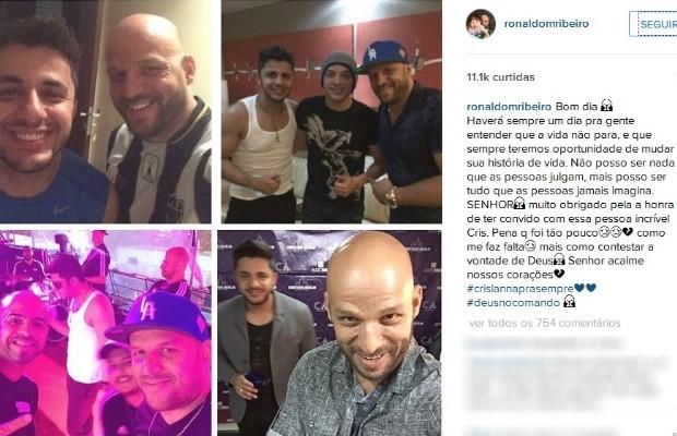 Motorista de Cristiano Araújo posta fotos com cantor: 'Como me faz falta' em Goiás (Foto: Reprodução/Instagram)