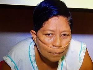 Patrícia Bispo dos Santos aguarda aparelho respirador portátil (Foto: Reprodução/Inter TV)