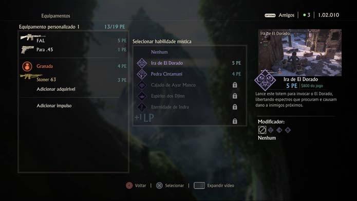 Adicione armas e itens em Uncharted 4 (Foto: Reprodução/Murilo Molina)