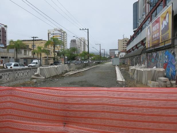 Vistoria das obras do VLT em Santos, SP (Foto: Rodrigo Martins/ G1)