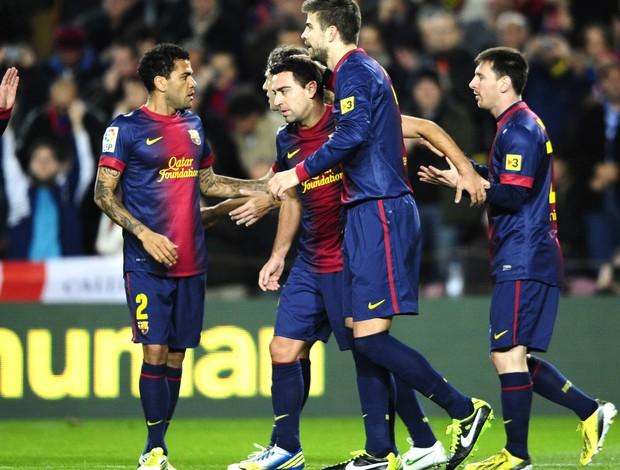 xavi pique daniel alves barcelona gol espanyol (Foto: Agência Getty Images)