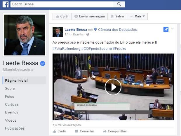 Publicação do deputado Laerte Bessa (PR-DF) em rede social repercute discurso em plenário (Foto: Facebook/Reprodução)