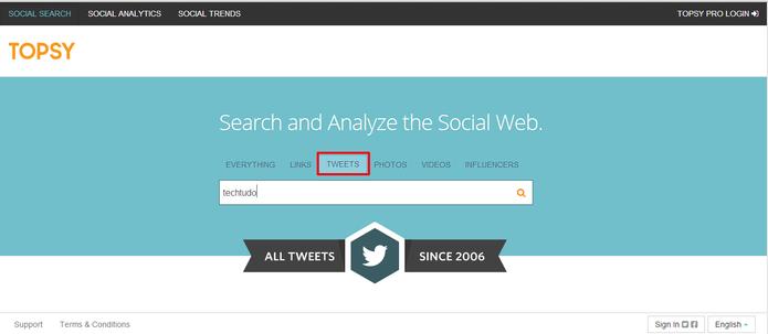 Digite seu nome no site Topsy para descobrir seu primeiro tuíte (Foto: Reprodução/Elson de Souza)