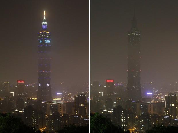 Torre 101 em Taipei, em Taiwan, participou da 'Hora do Planeta', neste sábado (23 (Foto: AP Photo/Chiang Ying-ying)